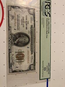 1929 $100 FEDERAL RESERVE BANK NOTE KANSAS CITY FR 1890-J