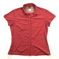 The North Face Womens Large Coral Pink Stretch Short Sleeve Button Up Shirt