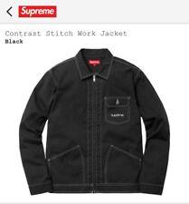 Supreme Contrast Stitch Work Jacket, Black, Größe: M, Brandneu