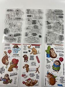 Art Impressions 3 Clear Stamp Sets~ Slothsome, Hedgehog & Doggy Kisses Set.