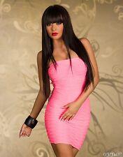 *♥*Sexy Cocktail-Kleid Bandeau-Form Wellen Abend-Kleid Gr 34/36 Neon-Pink