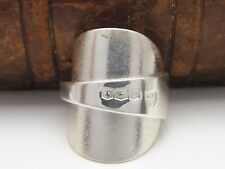 BEAUTIFUL CHUNKY TEXTURED SOLID STERLING SILVER SPOON RING - SIZE Q