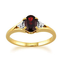 9ct Yellow Gold 0.77ct Natural Garnet & Diamond Single Stone Ring Size
