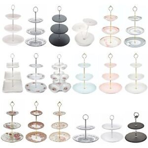 3 / 2 Tier Glass Ceramic Cake Stand Afternoon Tea Wedding Plates Party Tableware