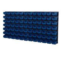 92 teiliges SET Lagersichtboxenwand Stapelboxen Werkzeugwand Blau