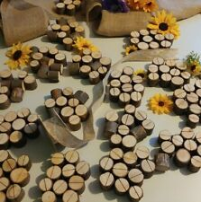 20 Rustic Wooden Table Decor Venue Name Place Card Holders Log Wedding Party USA
