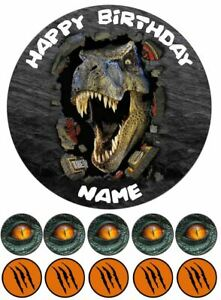 Dinosaur Roar Jurassic Edible Cake Toppers Wafer or Icing