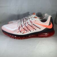 Nike Air Max White Bright Crimson Black Running Shoes Men Size 15 698902-106