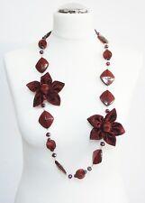 Collana Lunga Fiori Stoffa,Perle Cristalli da donna, Elegante Cerimonia Rosso