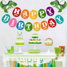 UK Dinosaur Birthday Colorful Banner Hanging Bunting Jurassic Party Decorations