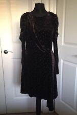 New Black Topshop Velvet Puff Shoulder Dress