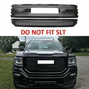 For 2016 2017 2018 GMC Sierra 1500 SLE / Base BLACK Front Grille Grill Covers