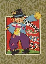 ANTIQUE SCARECROW SHOOO XMAS CHRISTMAS STICKER SMALL ART COLOR ACEO SIZE PRINT