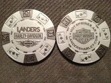 "Harley Poker Chip  (Gray & Black) ""Landers Hot Springs"" AR. CLOSED DEALER"