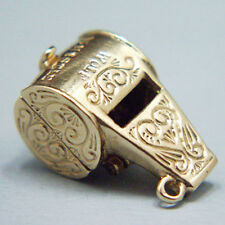 14k gold rare vintage WOLF WHISTLE charm opens WOLF