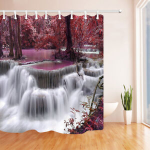 River Flow In Autumn Red Leaf Forest Shower Curtain Polyester Fabric With Hooks