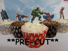 x24 SUPERHERO *new* edible wafer paper stand up cup cake toppers PRE-CUT