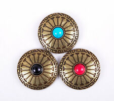 3X Mixed Color Turquoise Flower Brass Western Saddle Biker Craft Conchos Set