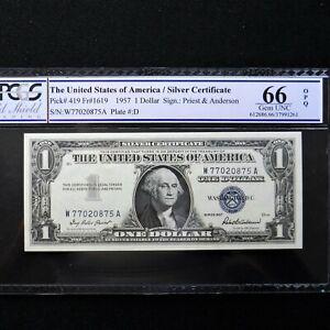 $1 1957 Silver Cert. PCGS 66 OPQ  Gem Unc, Fr # 1619 Priest/Anderson