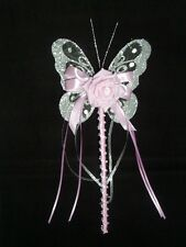 FLOWER GIRL OR BRIDESMAID SILVER AND PINK BUTTERFLY WAND WITH CRYSTALS