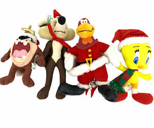 Looney Tunes Christmas Plush Stuffed Animals Lot 4 Taz Tweety Bird Foghorn Wiley