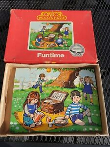 Great Vintage Wooden Jigsaw Puzzle by Condor 20 Pieces Retro Picnic Play Wood