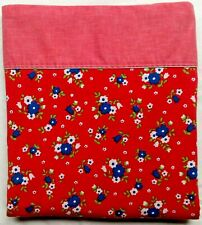 Vintage Wabasso Twin Flat Bed Sheet Retro Rad Flowers Blue White on Red