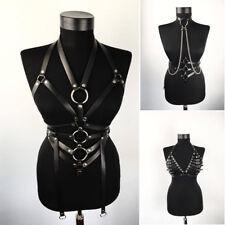 Women Top Body Harness PU Leather Bondage Bra Chains Belt Strap Corset Bustier