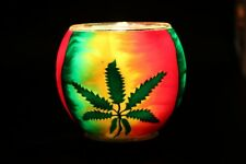 Rasta Leaf candle holder handmade