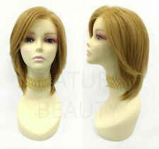 100% Human Hair Lace Front Strawberry Blonde Layered Straight Free Part Wig
