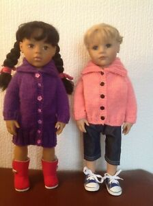 """Dolls  clothes knitting  pattern. 18"""" doll. Roll collar coat and cardigan. KNM82"""