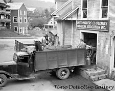 Unloading Milk Cans, Dairy Co-op, Hardwick, Vermont -1940- Historic Photo Print