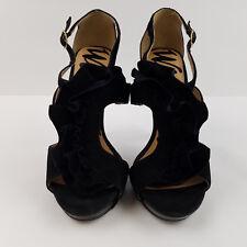 Womens Wild Rose Black Stiletto Heels Shoes Velvet Ruffle Ankle Straps Size 7