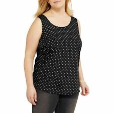 7a78ee9f28d9f Faded Glory Womens Woven Sleeveless Top Black White Plus Size 2x (18w-20w)
