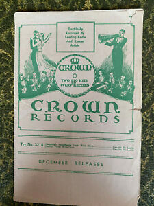 December 1932 CROWN Records catalog sup RACE RECORDS, IRISH, COUNTRY rare 78 rpm