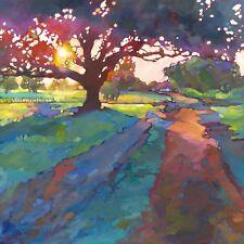 KMSchmidt 24x24 Ltd ART PRINT craftsman landscape OAK TREE sunrise
