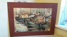 VINTAGE WATERCOLOUR PAINTING - SCOTTISH FISHING BOATS IN HARBOUR  - UNSIGNED
