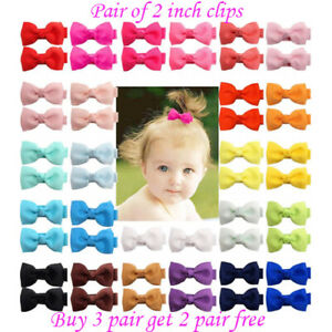 "2 inch 2"" small Baby Girls kids Ribbon Hair clip Bows clips cute lot School Pair"