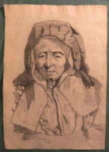 Portrait Antique Charcoal A Peasant Woman Towards 1940 - 31 X 45 CM