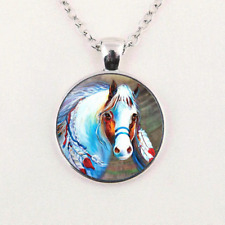Necklace Pendant Unisex Jewelry Gifts Art Horse Glass Cabochon Silver