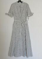 NWT Calvin Klein Cotton Midi in Cream Black Stripe Button Down Shirt Dress 8