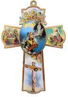 Catholic Our Lady of Lourdes with Cherub Angels Wood Wall Cross, 6 Inch