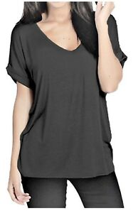 Womens Slouchy Deep V Oversize Tee in Charcoal Grey BNWT (RRP £14.99)