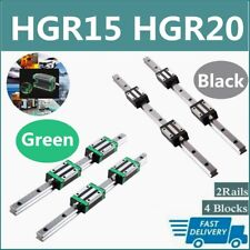 Hgr15 Hgr20 2X Linear Rail Guide+4X Hgh15Ca Hgh20Ca Block Hgh15 Hgh20 200-2000mm