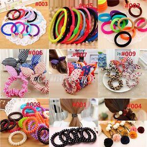 Girls Hair Band Ties Rope Ring Elastic Hairband Ponytail Holder Scrunchie 9 TYPE