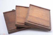 """✅ PLATE HOLDER GLASS 3 ANTIQUE WOOD DOUBLE SIDED 5x7"""", 13X18CM  VIEW CAMERA"""