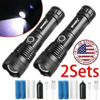 XH-P50 High Lumens LED USB Rechargeable Flashlight Zoom Torch 26650 Battery Sets