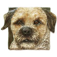 New ListingBorder Terrier Dog Tile Ceramic portrait handmade sculpture Alexander Art Usa