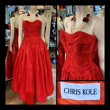 Vtg Size 6 CHRIS KOLE 100% Silk Red Pleated Fit Strapless Ball Gown Sz S