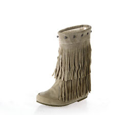 Women Winter Rivet Fringe Moccasin Ankle Snow Boots Tassel Flat Heels Shoes Size